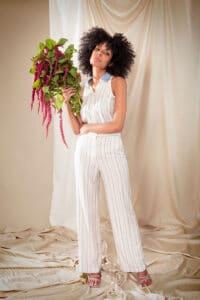 Pantalon Gaia à rayures blanches