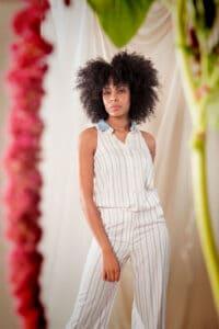 Alexa blouse white stripes