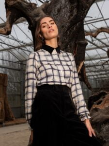 Bay blouse blurred check